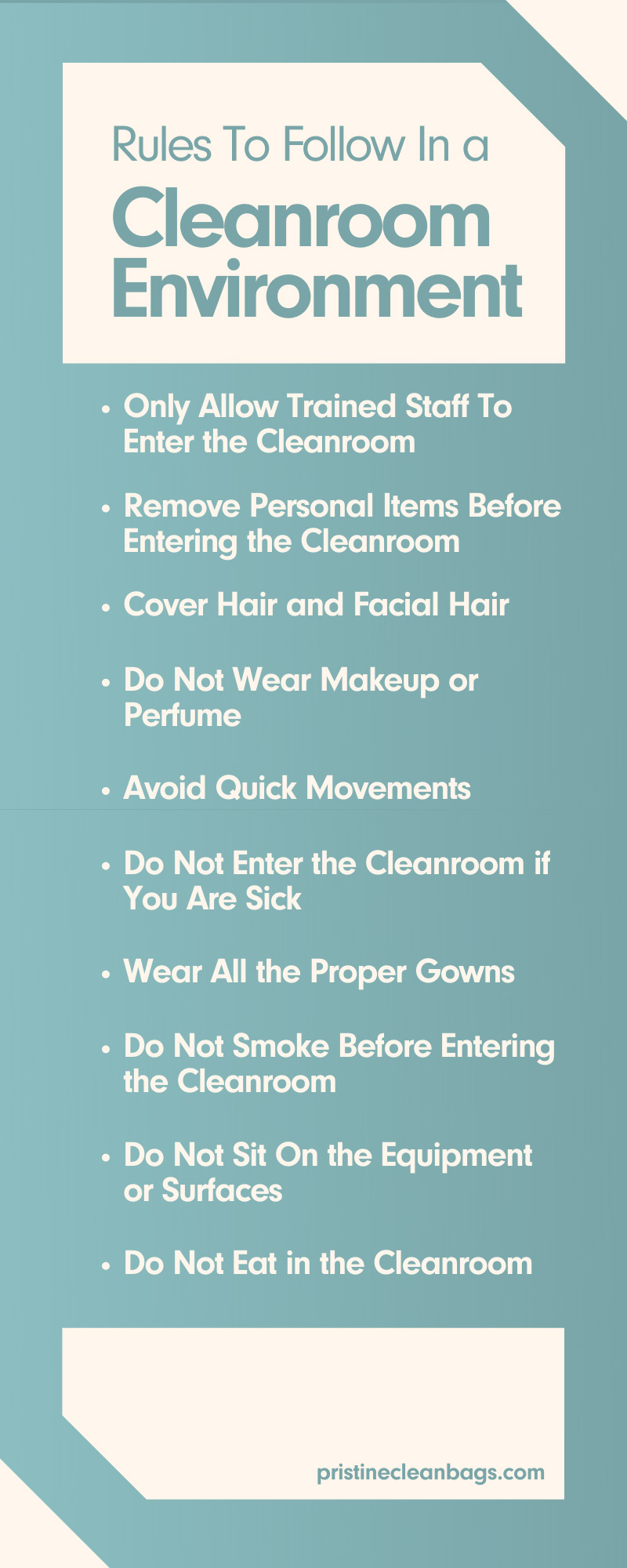 Rules To Follow In a Cleanroom Environment